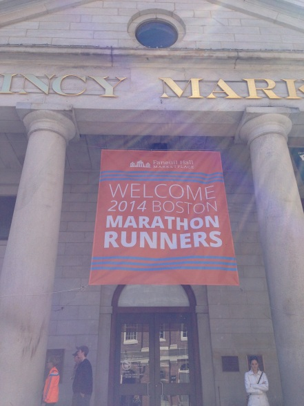 Banner Welcoming the Runners to Quincy Market!